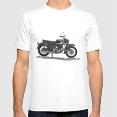 Vintage Motorcycle MEDIUM White Mens Fitted Tee