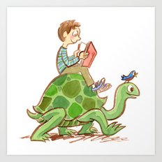 The Tortoise-Riding Reader Art Print