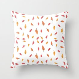 Falling Leaves Autumn Pattern Throw Pillow
