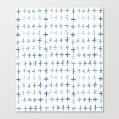 Indigo Shibori Crosses Canvas Print