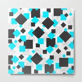 Squares & Blues Shapes Metal Print