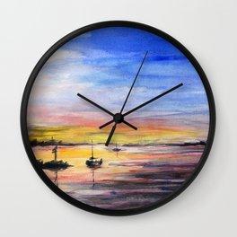 Beautiful Sunset Watercolor Painting Wall Clock