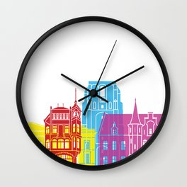 Leeuwarden skyline pop Wall Clock