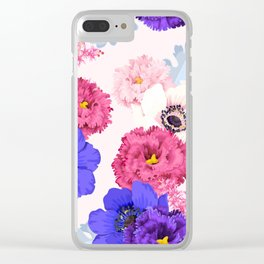 Magenta Purple Floral Kingdom Sumptuous Fantasy Flower Pattern Clear iPhone Case