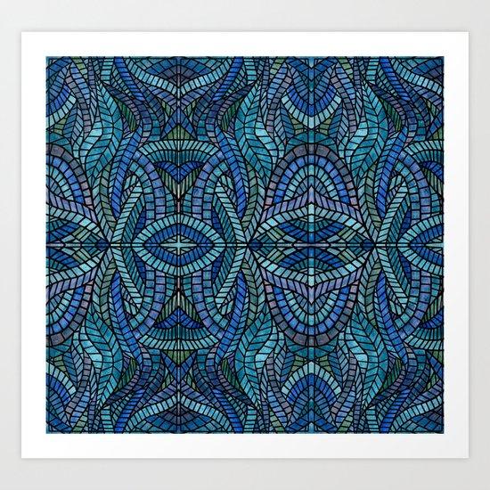 Blue Geometric Mosaic Art Print