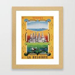 retro Visitez la Belgique Framed Art Print