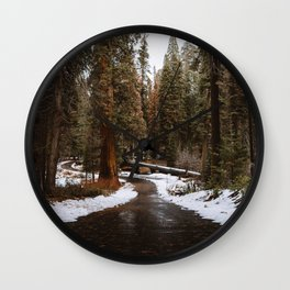Tunnel Log Road in Sequoia Wall Clock