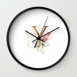 Golden ethereal floral monogram - Y Wall Clock