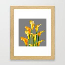 DECORATIVE GOLDEN CALLA LILY FLOWERS ON GREY ART Framed Art Print