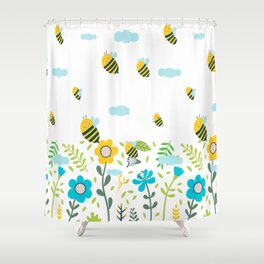 Bee Flaying Shower Curtain