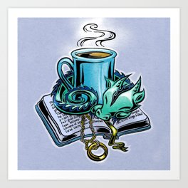 Snuggly dragon and a coffee cup Art Print