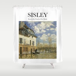 Sisley - Boat in the Flood at Port Marly Shower Curtain