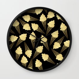 Faux Gold Leaf  Ice Cream Cones on Black Wall Clock