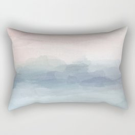 Blush Pink Mint Sky Baby Blue Abstract Ocean Sky Sunrise Wall Art, Water Clouds Painting Rectangular Pillow