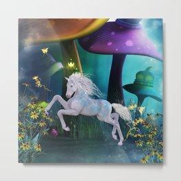 Cute little horse in the mushroom forrest Metal Print