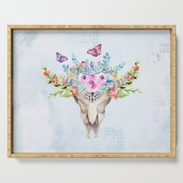 Boho Skull with Florals and Butterflies Serving Tray