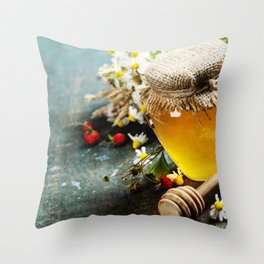 Honey and Herbal tea on wooden background Throw Pillow
