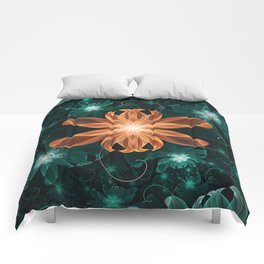 Alluring Turquoise and Orange Tiger Lily Flower Comforters