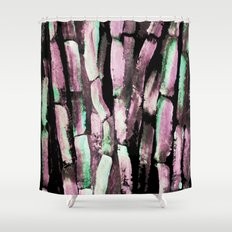 Purple and Green Sugarcane on Black Shower Curtain