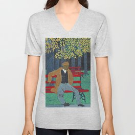 African American Masterpiece 'Man on a Bench' by Horace Pippin Unisex V-Neck
