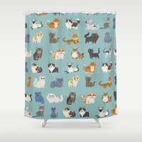 because cats Shower Curtains featuring Cats! by Doggie Drawings