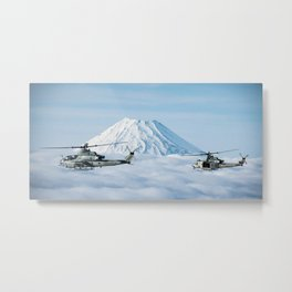 Bell AH-1Z Viper and Bell UH-1Y Venom pass Mount Fuji Metal Print