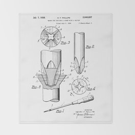 Phillips Screwdriver: Henry F. Phillips Screwdriver Patent Throw Blanket
