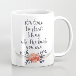 it's time to like yourself (navy and coral) Coffee Mug