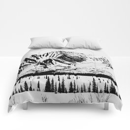 Black and White Mountains Comforters