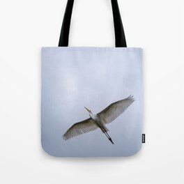 Majestic Great White Egret soaring overhead Tote Bag