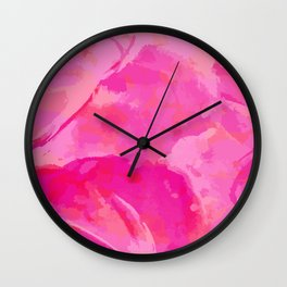 pink abstract floral pattern Wall Clock