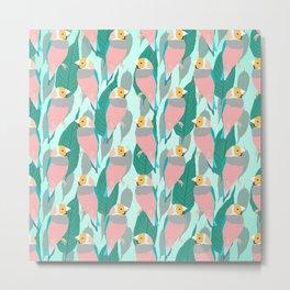 Trendy Pink Rainbow Finch Bird & Green Foliage Design Metal Print