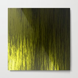 Bright texture of shiny foil of yellow flowing waves on a dark fabric. Metal Print