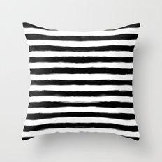 Black Paint Strokes Stripes Throw Pillow