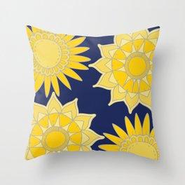 Sunshine yellow navy blue abstract floral mandala Throw Pillow