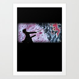 Black and Red Silhouette Art Print