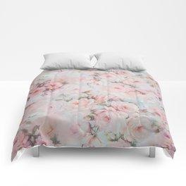 Vintage romantic blush pink teal bohemian roses floral Comforters