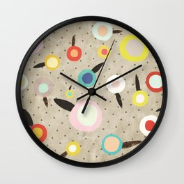 Flowers Vintage Brown Polka dots Wall Clock