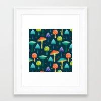 mushrooms Framed Art Prints featuring Mushrooms by Julia Badeeva
