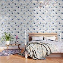 Adorable Dutch hippos in Delft blue style Wallpaper