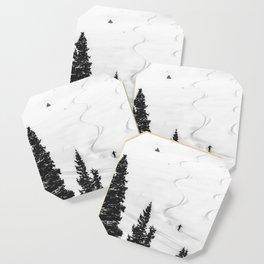 Backcountry Skier // Fresh Powder Snow Mountain Ski Landscape Black and White Photography Vibes Coaster