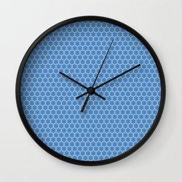Chinoiseries Hexagone Flowers Blue Wall Clock