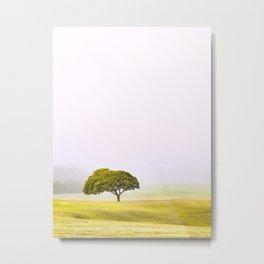 Tree in mist Metal Print