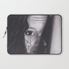 Realism Charcoal Drawing of Woman from Honduras Laptop Sleeve