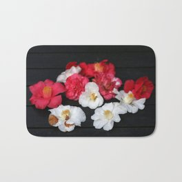Red and White camelia Bath Mat