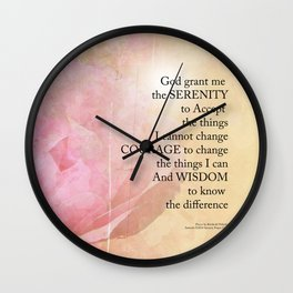 Serenity Prayer Pink Rose Floral Collage Wall Clock