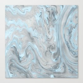 Ice Blue and Gray Marble Canvas Print