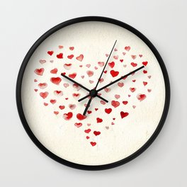 LOVE you! Watercolor Hearts. Valentine's Day Card Wall Clock