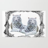 tigers Area & Throw Rugs featuring White Tigers by haroulita