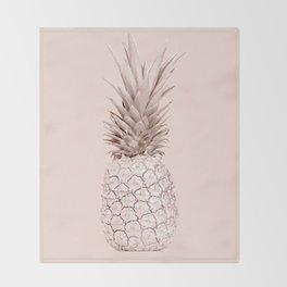 Rose Gold Pineapple on Blush Pink Throw Blanket